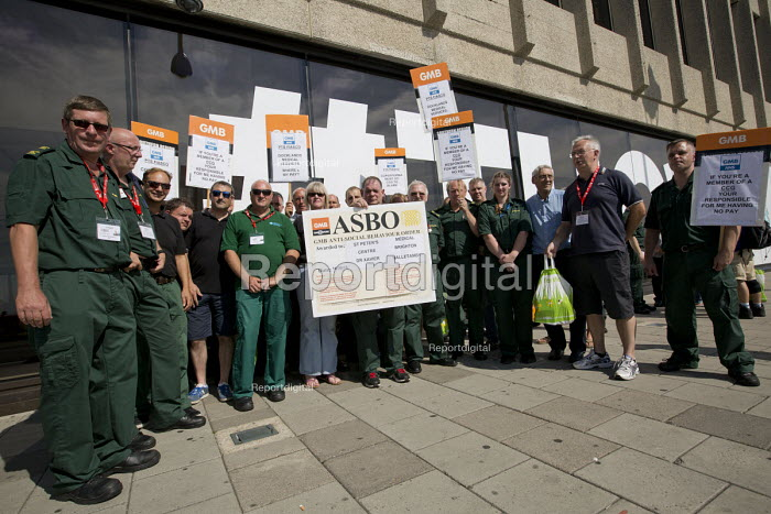 GMB members from St Peter Medical Centre protest outside TUC conference Brighton as Sussex patent transport provider contracted by Coperforma, Docklands Medical Services, is bankrupt and ambulance stations are closed - Jess Hurd - 2016-09-14
