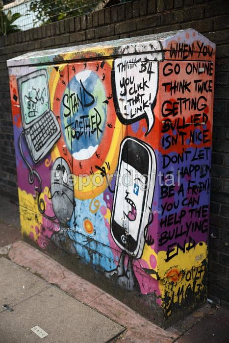 Anti bullying graffiti art on a telephone exchange junction box, Brighton - Jess Hurd - 2016-09-13