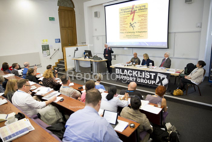 John McDonnell MP speaking at Bullying and Blacklisting Conference, Greenwich University, South London. - Jess Hurd - 2016-09-16