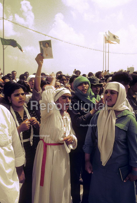 Demonstration in support of Muammar Gaddafi, Tripoli 1984 on the 15th Anniversary of the coup that put him in control of Libya, later renaming it the Socialist Peoples Libyan Arab Jamahiriya - Stefano Cagnoni - 1984-09-01