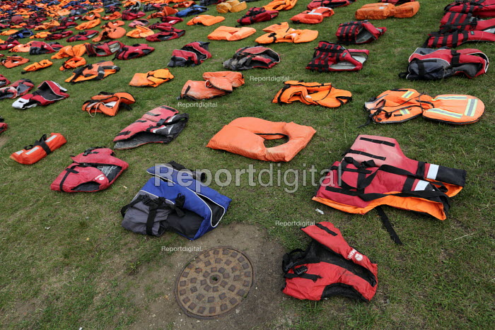 Graveyard of life jackets, 2500 laid out in Parliament... - Jess Hurd, jj1609198.JPG