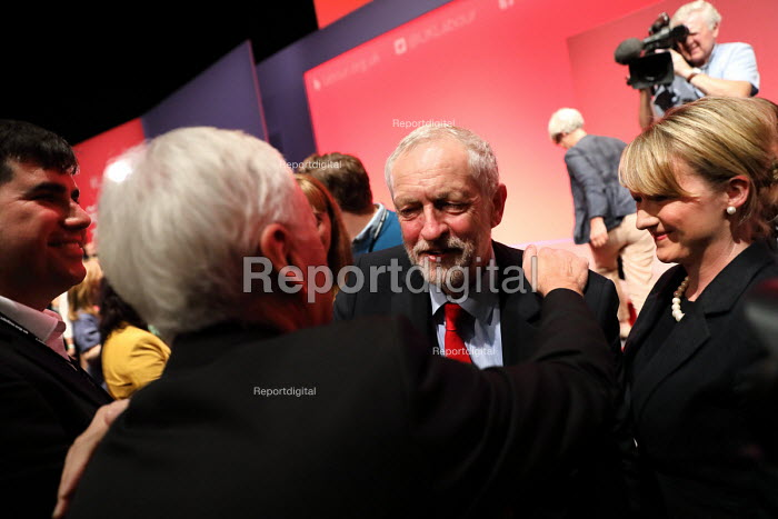 Jeremy Corbyn hugging John McDonnell as Corbyn is elected leader of the Labour Party for a second time. Liverpool. - Jess Hurd - 2016-09-24