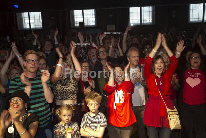 Joy as the victory of Jeremy Corbyn in Labour Party leadership election is announced, Supporters attending the live screening of the labour leadership election results, The World Transformed. Black-E, Liverpool - John Harris - 2016-09-24