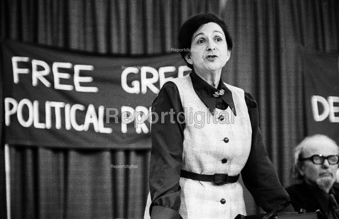Betty Ambatielos speaking London 1967. British Communist Party member and joint founder of League for Democracy in Greece, a political group active against the Colonels regime. - Patrick Eagar - 1967-09-28