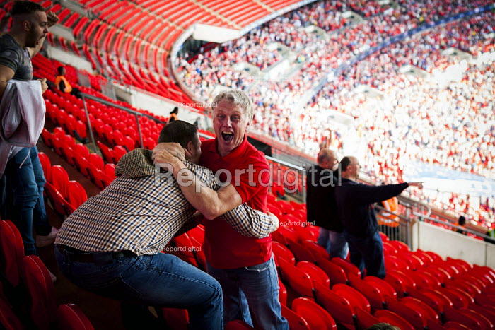 Barnsley fans celebrating the league One victory over Millwall. Wembley Stadium, London - Connor Matheson - 2016-05-29