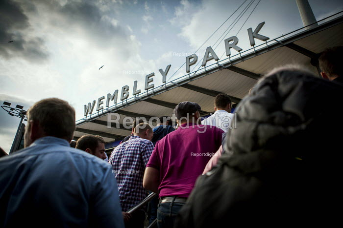 Barnsley fans make their way home after the league One victory over Millwall. Wembley Stadium, Wembley Park tube station, London - Connor Matheson - 2016-05-29