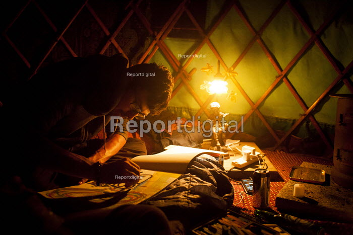 An Artist working inside a tent, Oldham, Manchester - Connor Matheson - 2016-06-29