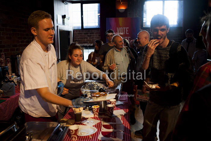 Pies being served at The World Transformed, Black-E, Liverpool - connor matheson - 2016-09-25
