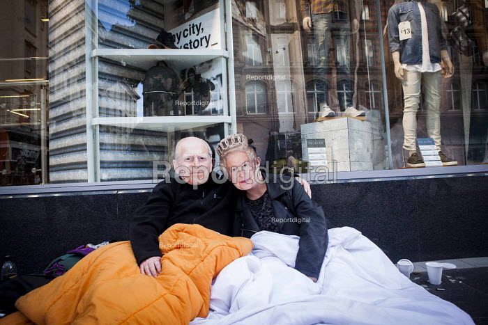 Homeless wearing masks of Prince Charles and Queen Elizabeth, Liverpool - connor matheson - 2016-09-25