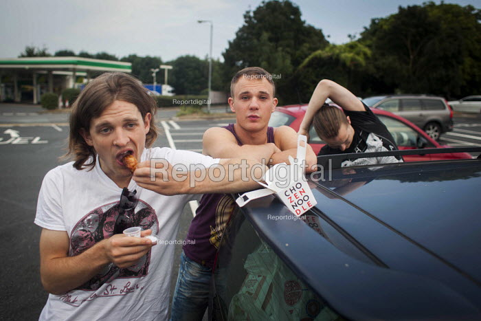 Body Hound musicians stopping off at a motorway service station for food on the way down to a music festival, Yorkshire - Connor Matheson - 2016-08-17