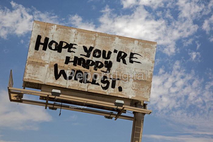 Las Vegas, Nevada, AntiWall Street graffiti billboard, Hope Youre Happy Wall Street - Jim West - 2016-06-30