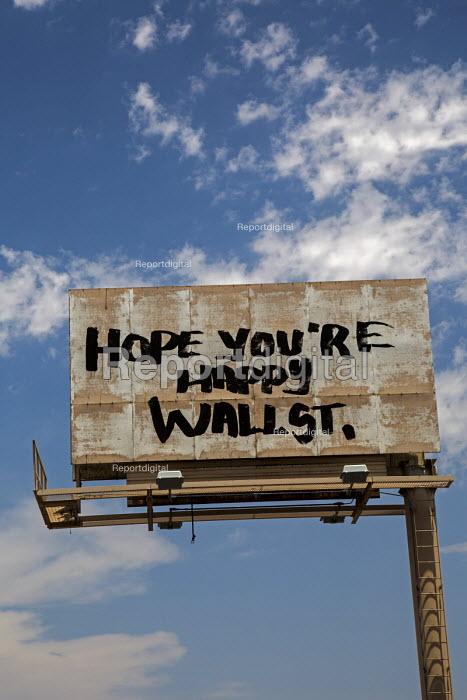 Las Vegas, Nevada - An anti-Wall Street graffiti billboard. - Jim West - 2016-06-30