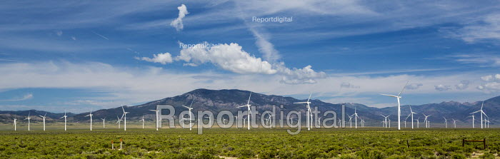 Ely, Nevada, Spring Valley Wind Farm, which uses 66 wind turbines to generate 150 megawatts of electricity. - Jim West - 2016-07-01