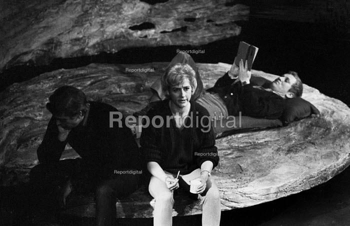 Next Time I'll Sing For You by James Saunders, New Arts Theatre London 1963. Liz Fraser as Lizzie, Michael Caine (L) as Meff and Barry Foster (R) reading as Dust - Alex Low - 1963-01-23