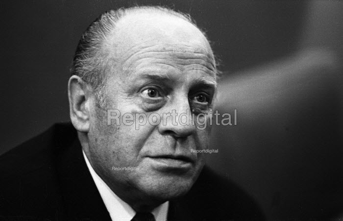 Oskar Schindler, a German industrialist, spy, and member of the Nazi Party who is credited with saving the lives of 1,200 Jews during the Holocaust by employing them in his enamelware and munitions factories located in occupied Poland and the Protectorate of Bohemia and Moravia London 1967 - Patrick Eagar - 1967-12-04