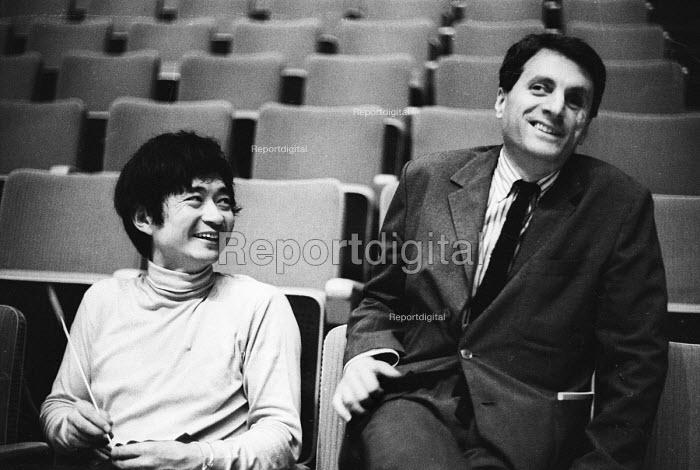 Japanese conductor Seiji Ozawa and Greek composer Iannis Xenakis, Royal Festival Hall London 1967 - Patrick Eagar - 1967-06-06