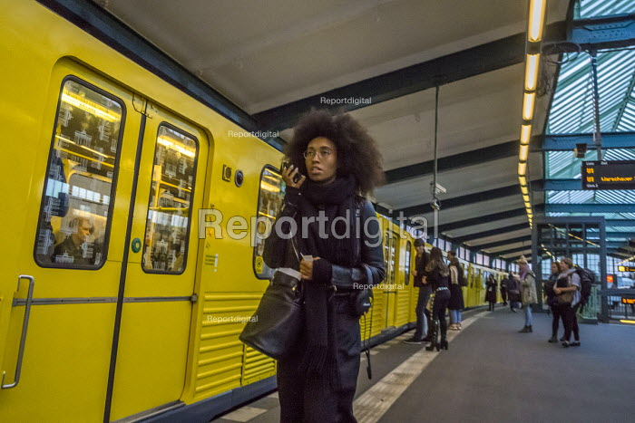 Berlin, Germany. Passenger on a Berlin subway - David Bacon - 2016-10-02