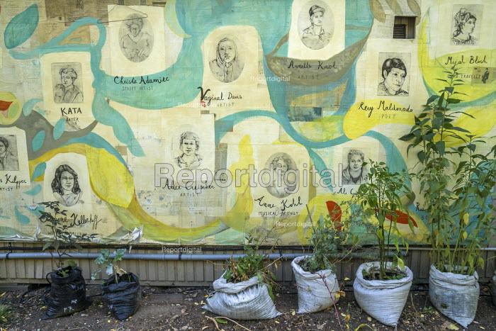 Berlin, Germany. Growing food in a community garden, Kreuzberg - David Bacon - 2016-10-02