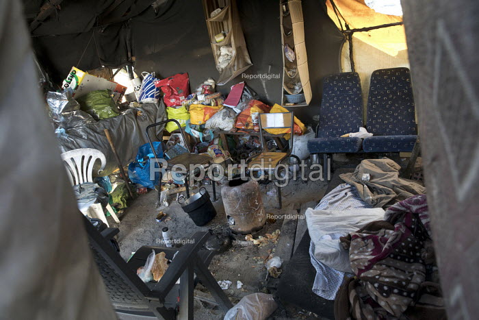 Belongings left behind in Refugees shelters, eviction from The Jungle camp prior to a demolition by French authorities. Calais, France - Jess Hurd - 2016-10-26
