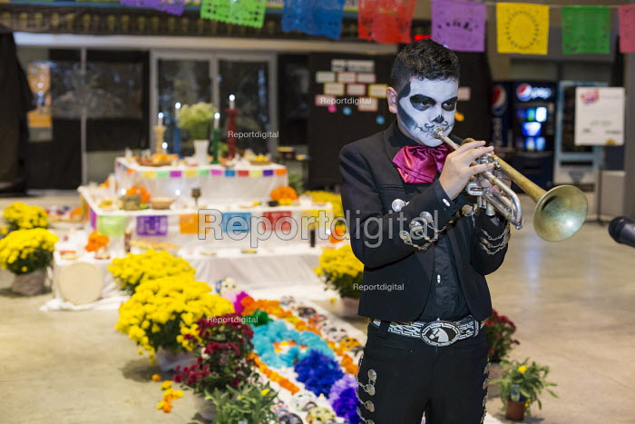 Detroit, Michigan - A mariachi band plays as the Day of the Dead is observed in Detroit's Mexican-American neighborhood. - Jim West - 2016-10-29