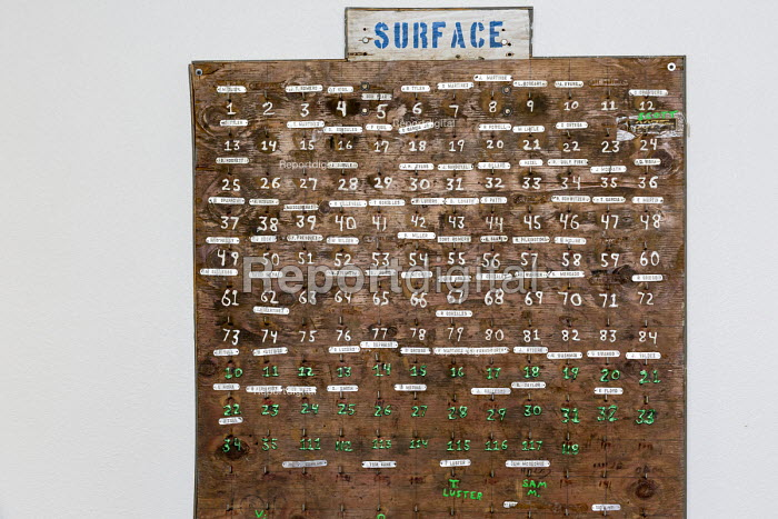 Leadville, Colorado, USA The National Mining Hall of Fame Museum. Board showing employees names used to track who was in the mine. Tags would be removed from the board when an employee entered the mine and returned to the board when the employee exited - Jim West - 2016-09-19