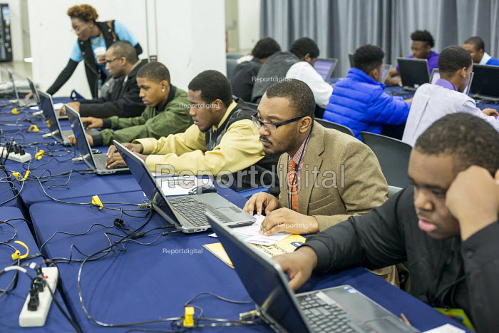 Detroit, Michigan: Young African American men applying for jobs onlinem, job fair sponsored by the nonprofit My Brother's Keeper - Jim West - 2016-11-14