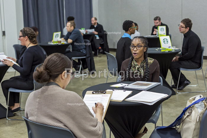 Detroit, Michigan: Young African American woman in a job interview, job fair sponsored by the nonprofit My Brother's Keeper - Jim West - 2016-11-14