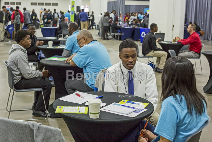 Detroit, Michigan. Young African American men practicing their interview skills at a job fair sponsored by the nonprofit My Brother's Keeper - Jim West - 2016-11-14