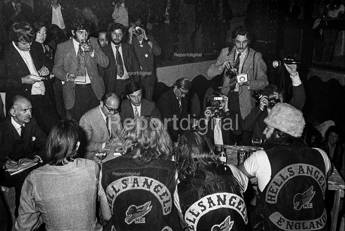 1971 Buttons (in hat) President of Hell's Angels England chapter holding press conference to launch book about his life The Making of a President, Covent Garden, London - Martin Mayer - 1971-10-06