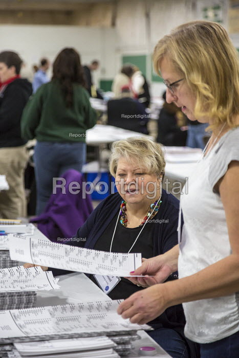Mason, Michigan USA, recount of ballots cast in the 2016 Presidential election. Party observers watching workers recounting the votes - Jim West - 2016-12-06