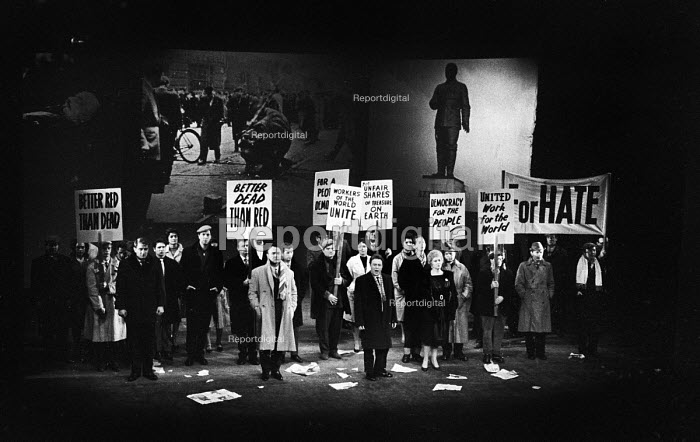 UK Premiere of The Rise And Fall of The City of Mahagonny by Bertolt Brecht Sadlers Wells Theatre London 1963 with set design by Ralph Koltai projecting images of Lenin and Stalin onto a screen behind the performers - Alex Low - 1963-01-16
