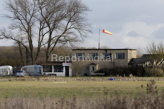 Windsock and old buildings, Long Marston Airfield, to be a Garden Village housing development, Warwickshire - John Harris - 2017-01-04