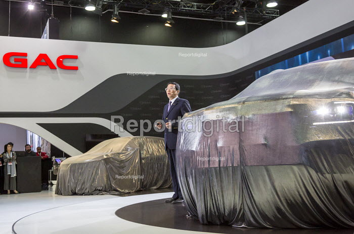 Detroit, Michigan, Feng Xingya, president of the Chinese GAC Group unveiling new cars, North American International Auto Show - Jim West - 2017-01-09