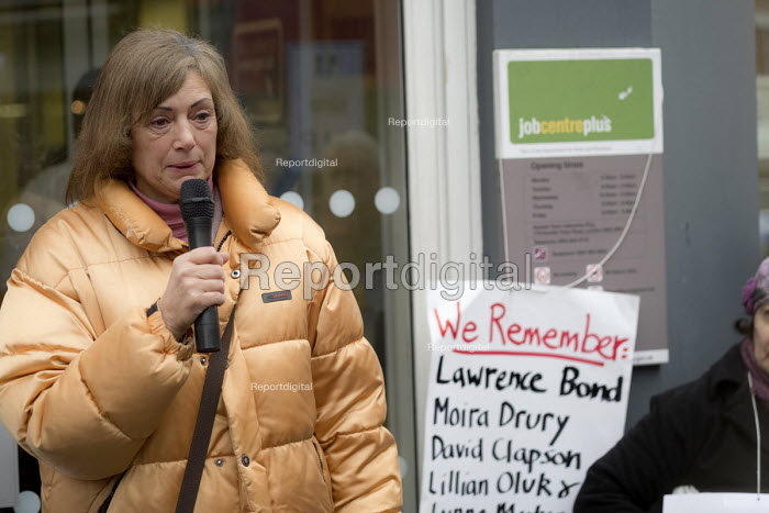 Iris Green speaking Vigil for Lawrence Bond, who died after being found fit for work and losing his disability benefits, Kentish Town Jobcentre London. - Philip Wolmuth - 2017-01-25