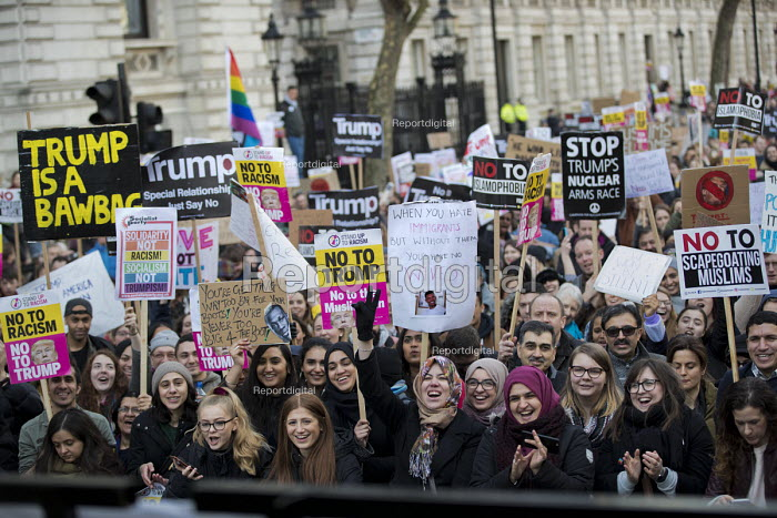 Stop Trump's Muslim Ban, STW protest from US Embassy to Downing Street, Westminster, London - Jess Hurd - 2017-02-04