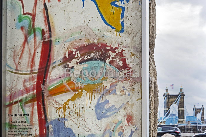 Cincinnati, Ohio: a section of the Berlin Wall outside the National Underground Railroad Freedom Center museum of the history of slavery and the underground railroad - Jim West - 2017-01-17
