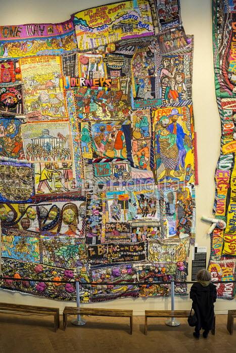 Cincinnati, Ohio Textile artworks Journeys I and II, by Aminah Brenda Lynn Robinson, National Underground Railroad Freedom Center museum of the history of slavery and the underground railroad - Jim West - 2017-01-17