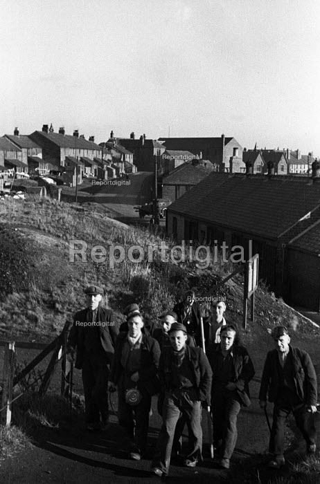 Miners walking to work, Wingate Grange Colliery County Durham 1948 - Elisabeth Chat - 1948-06-01