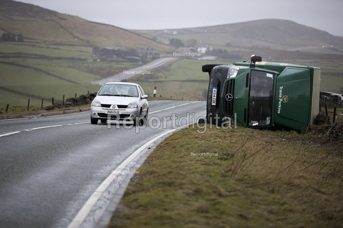 High sided vehicles overturned by gale force winds of Storm Doris on a mountain pass, A53 nr Flash, Peak District National Park, Staffordshire - Jess Hurd - 2017-02-23