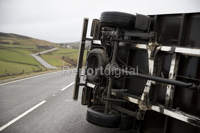 Storm Doris overturns high sided vehicles on a high pass nr Flash in the Peak District National Park, Staffordshire. - Jess Hurd - 2017-02-23
