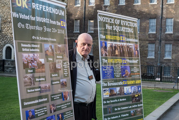 UKIP members protest outside as Parliament votes to trigger Article 50, Parliament Square London - Philip Wolmuth - 2017-03-13