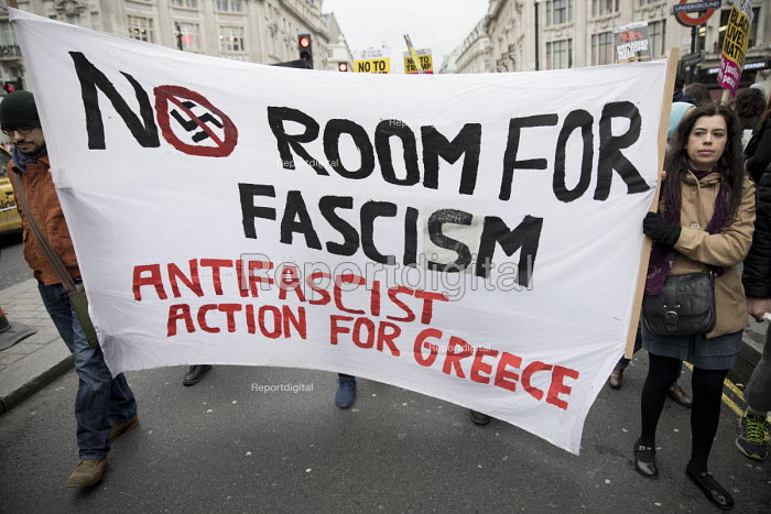 Stand up to Racism protest, UN Anti Racism Day, London. Anti Fascist Action for Greece - Jess Hurd - 2017-03-18
