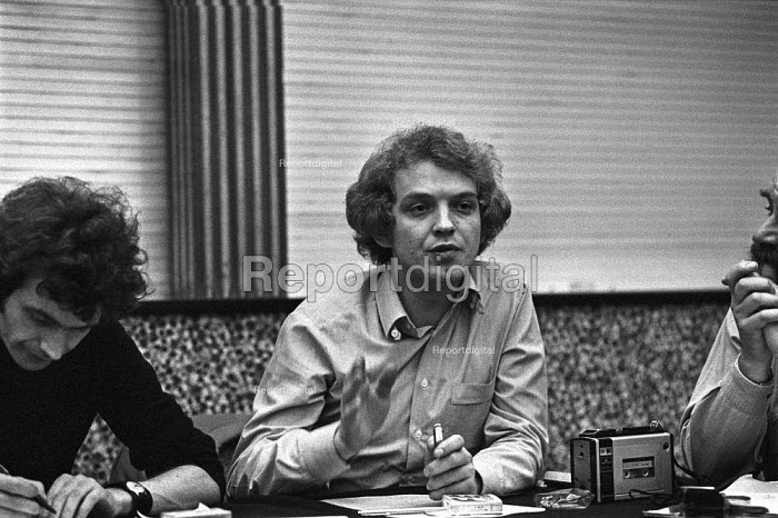 Heinz Funke, lawyer for Baader Meinhof group at a Press conference, London 1977 after the deaths of Andreas Baader, Gudrun Ensslin and Jan-Carl Raspe who reportedly committed suicide in Stammheim Prison - NLA - 1977-11-10
