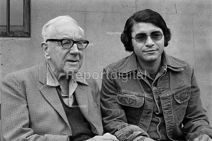 Historian, journalist and broadcaster A J P Taylor at home in London aged 71, 1977 with a Libyan author - Peter Arkell - 1977-08-27