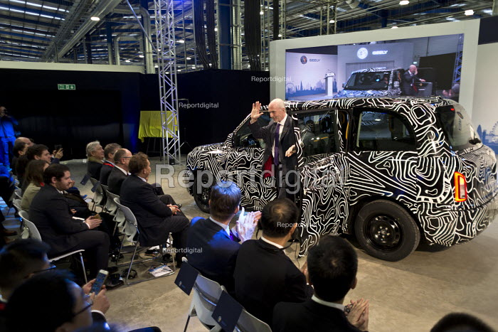 Chairman Carl-Peter Forster arriving in a TX5 at the launch. London Taxi Company opening a new car factory to make TX5 electric Black Cab taxis, Ansty, Coventry. LTC is owned by Chinese car maker Geely - John Harris - 2017-03-22