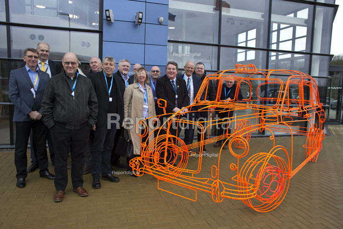 Tony Burke Unite members, London Taxi Company opening a new car factory to make TX5 electric Black Cab taxis, Ansty, Coventry. LTC is owned by Chinese car maker Geely - John Harris - 2017-03-22
