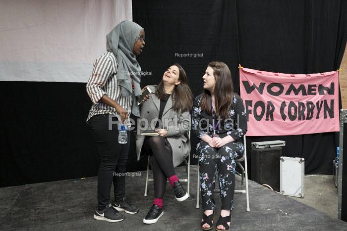 Eiza Gonzalez Podemos talking to Nicky Brennan Momentum Inaugural Conference, Birmingham. Women for Corbyn banner - John Harris - 2017-03-25