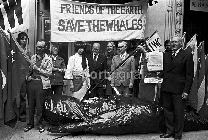 FOE lobby of delegates to the International Whaling Commission meeting to Save the Whales, London 1976. To demand the end of commercial whaling by Russia and Japan - NLA - 1976-06-21