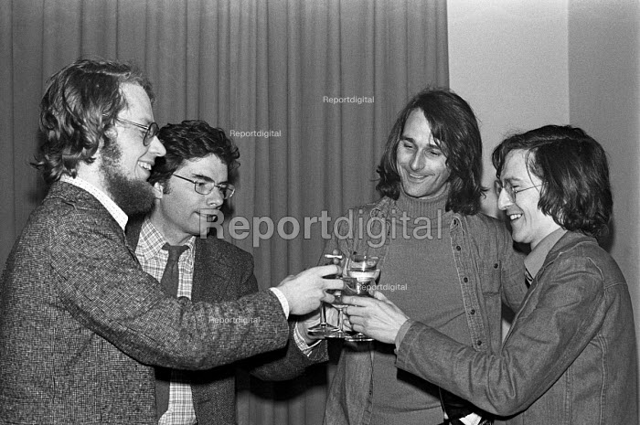 ABC trial and campaign. Duncan Campbell, John Berry and Crispin Aubrey celebrate with Philip Agee after Berry was released from custody - NLA - 1977-03-09