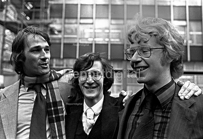ABC trial at the Old Bailey 1978, John Berry,Crispin Aubrey and Duncan Campbell after the trial. They were found guiilty of breaking the Official Secrets Act, but were not given custodial sentences - NLA - 1978-11-17